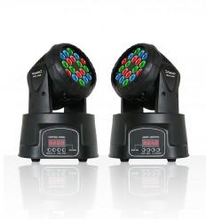 2 x Beamz MHL-108 18 X 3W RGB