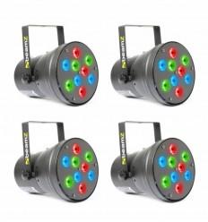 4 x BEAMZ PAR 36 SPOT 9 X 1W RGB LEDS