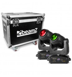 Beamz 2x IGNITE180B Spot LED Moving Head & Flightcase