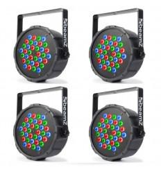 4 x Beamz FLATPAR 36X 1W RGB LEDS DMX IRC