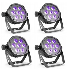 4 X Beamz BT280 LED Flat Par 7x10W 6-in-1 RGBAWUV