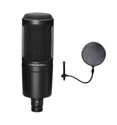 Pachet microfon Audio Technica AT2020 + Pop filter