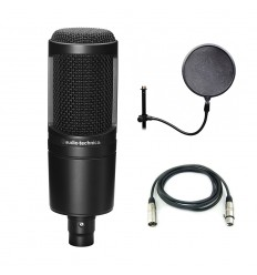 Pachet microfon Audio Technica AT2020 + Pop filter + Cablu XLR