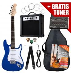 Rocktile ST Pack Electric Guitar Set, Blue, incl. amp, bag, tuner, cable, strap, strings